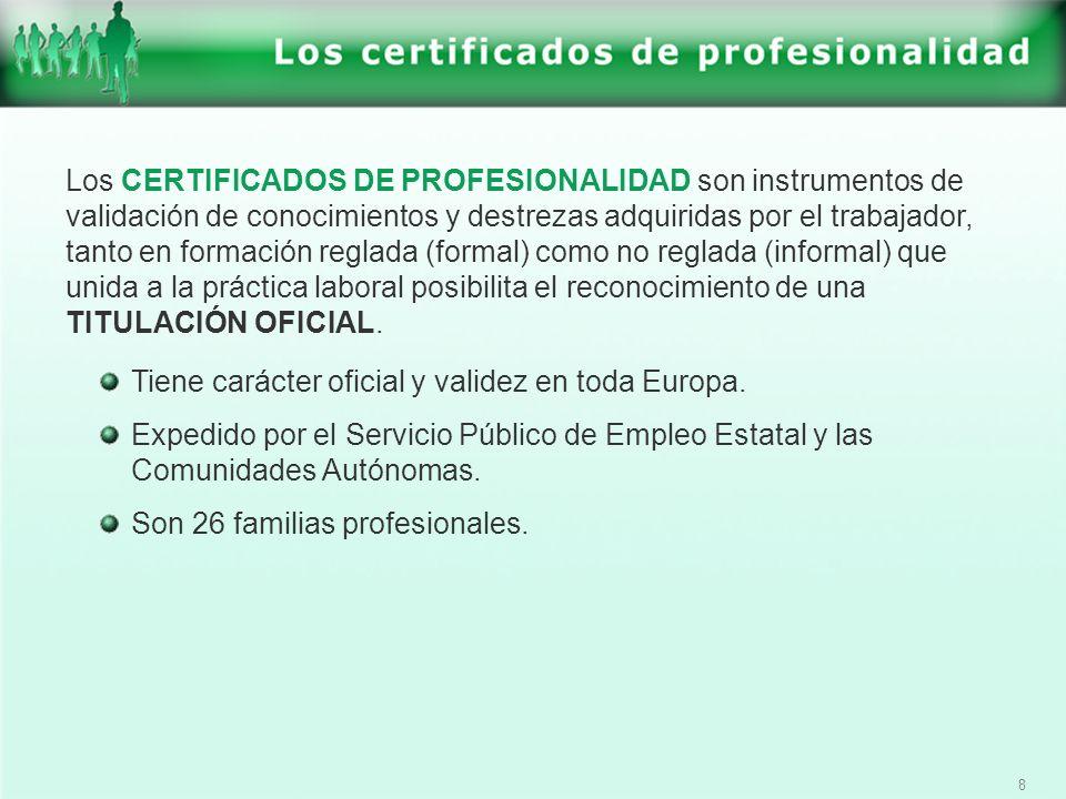 9 El Certificado de Profesionalidad se podrá obtener: A través de la superación de todos los módulos formativos correspondientes.