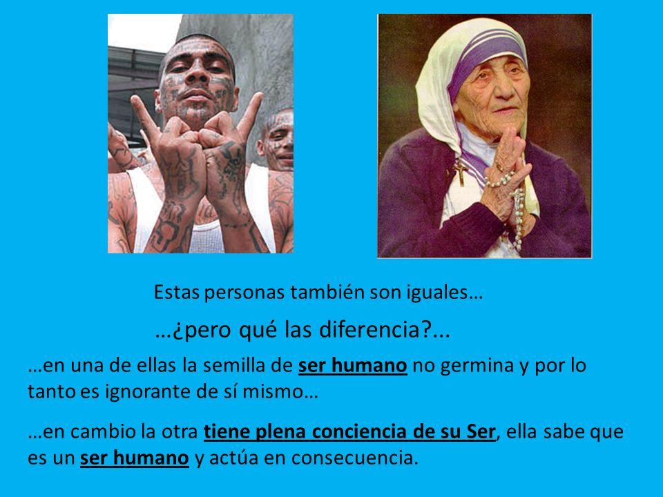 …en una de ellas la semilla de ser humano no germina y por lo tanto es ignorante de sí mismo… …en cambio la otra tiene plena conciencia de su Ser, ella sabe que es un ser humano y actúa en consecuencia.
