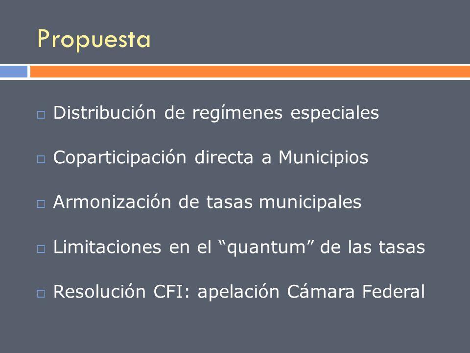 Distribución de regímenes especiales Coparticipación directa a Municipios Armonización de tasas municipales Limitaciones en el quantum de las tasas Re