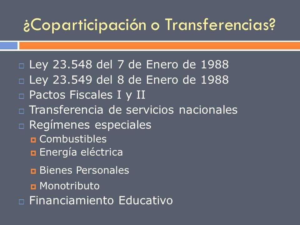 ¿Coparticipación o Transferencias? Ley 23.548 del 7 de Enero de 1988 Ley 23.549 del 8 de Enero de 1988 Pactos Fiscales I y II Transferencia de servici