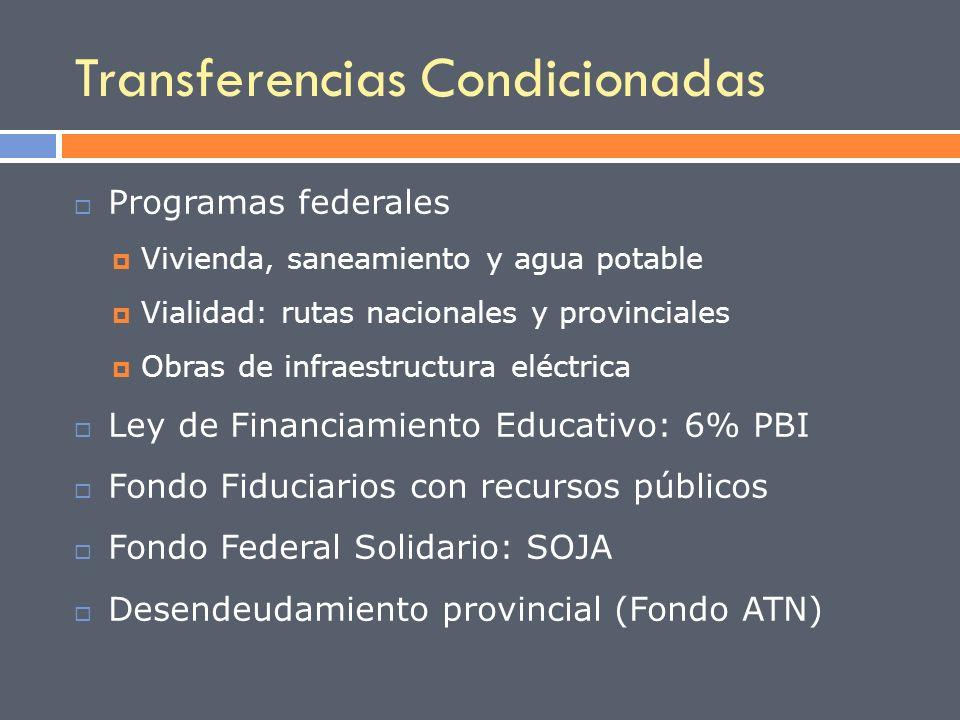 Transferencias Condicionadas Programas federales Vivienda, saneamiento y agua potable Vialidad: rutas nacionales y provinciales Obras de infraestructu
