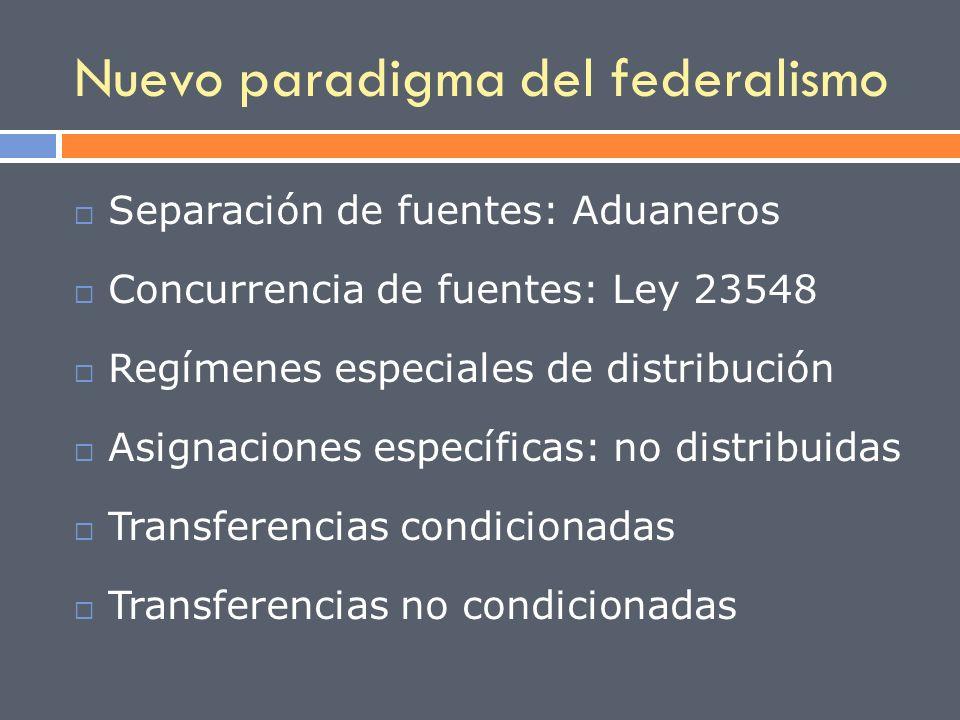 Nuevo paradigma del federalismo Separación de fuentes: Aduaneros Concurrencia de fuentes: Ley 23548 Regímenes especiales de distribución Asignaciones