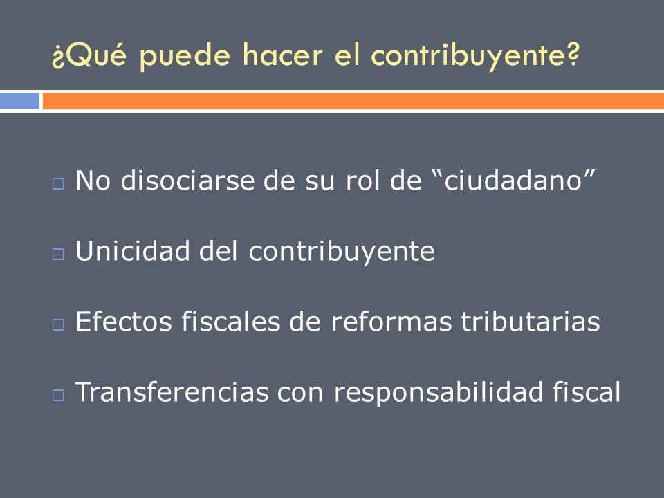 ¿Qué puede hacer el contribuyente? No disociarse de su rol de ciudadano Unicidad del contribuyente Efectos fiscales de reformas tributarias Transferen