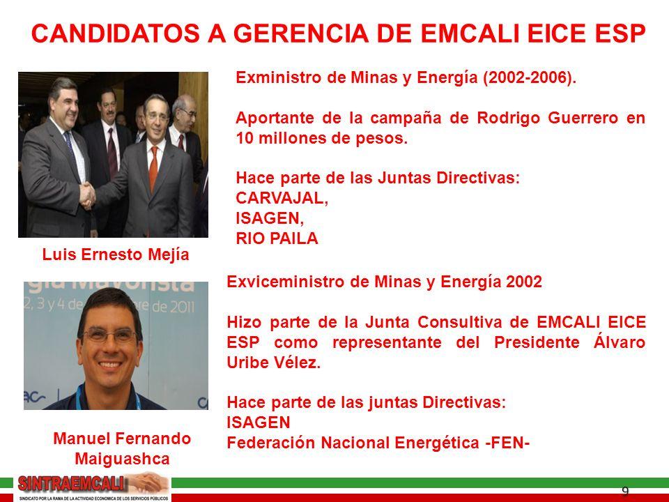 9 CANDIDATOS A GERENCIA DE EMCALI EICE ESP Luis Ernesto Mejía Exministro de Minas y Energía (2002-2006).
