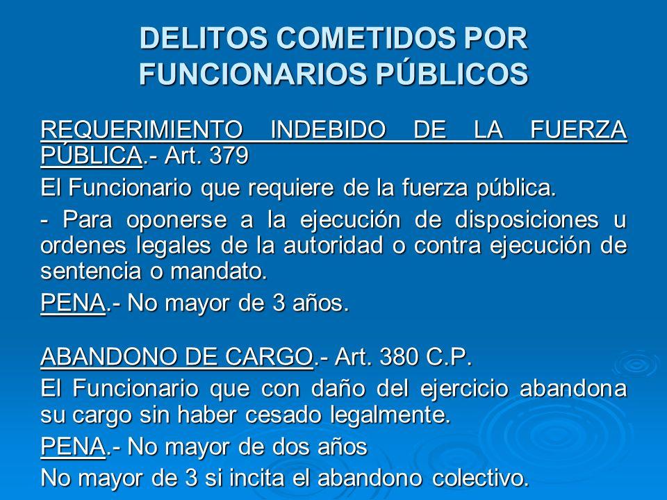 DELITOS COMETIDOS POR FUNCIONARIOS PÚBLICOS NOMBRAMIENTO Y ACEPTACIÓN ILEGAL DE CARGO PÚBLICO.