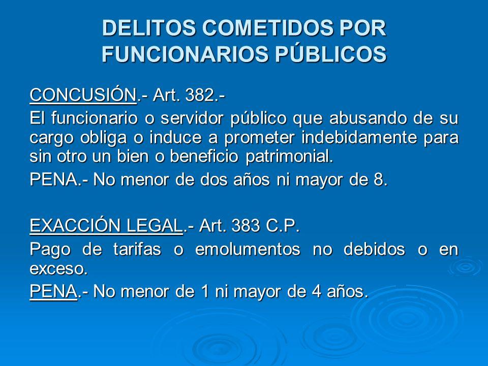 DELITOS COMETIDOS POR FUNCIONARIOS PÚBLICOS COLUSIÓN.- Ley 26713, Art.