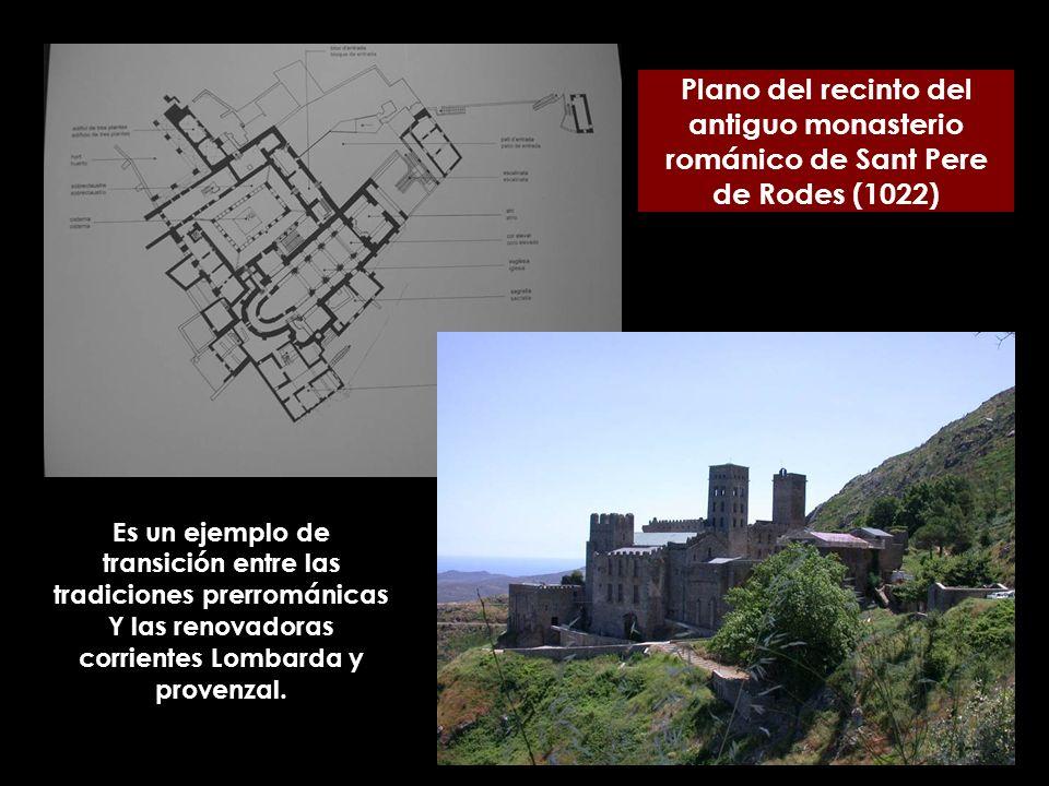 Plano del recinto del antiguo monasterio románico de Sant Pere de Rodes (1022) Es un ejemplo de transición entre las tradiciones prerrománicas Y las r