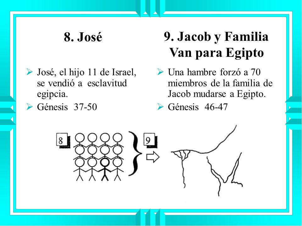 8. José José, el hijo 11 de Israel, se vendió a esclavitud egipcia. Génesis 37-50 Una hambre forzó a 70 miembros de la familia de Jacob mudarse a Egip