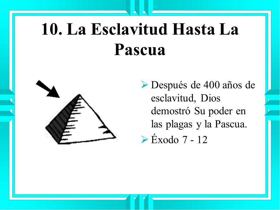 10. La Esclavitud Hasta La Pascua Después de 400 años de esclavitud, Dios demostró Su poder en las plagas y la Pascua. Éxodo 7 - 12