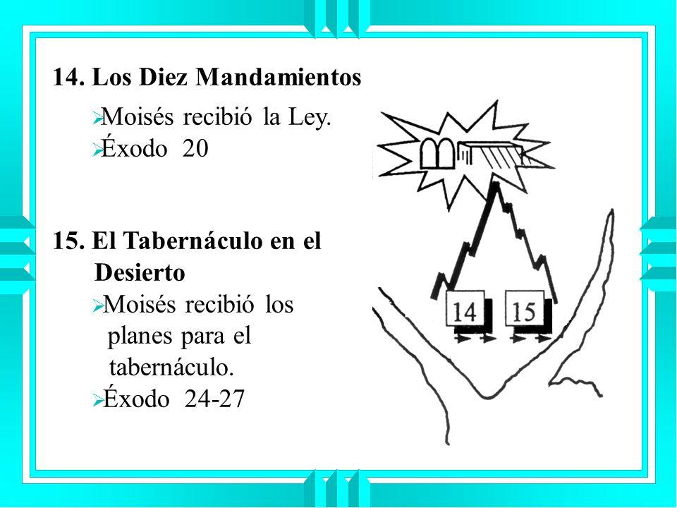 14. Los Diez Mandamientos 15. El Tabernáculo en el Desierto Moisés recibió los planes para el tabernáculo. Éxodo 24-27 Moisés recibió la Ley. Éxodo 20