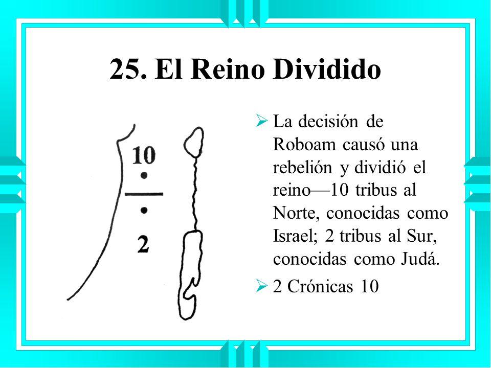 25. El Reino Dividido La decisión de Roboam causó una rebelión y dividió el reino10 tribus al Norte, conocidas como Israel; 2 tribus al Sur, conocidas