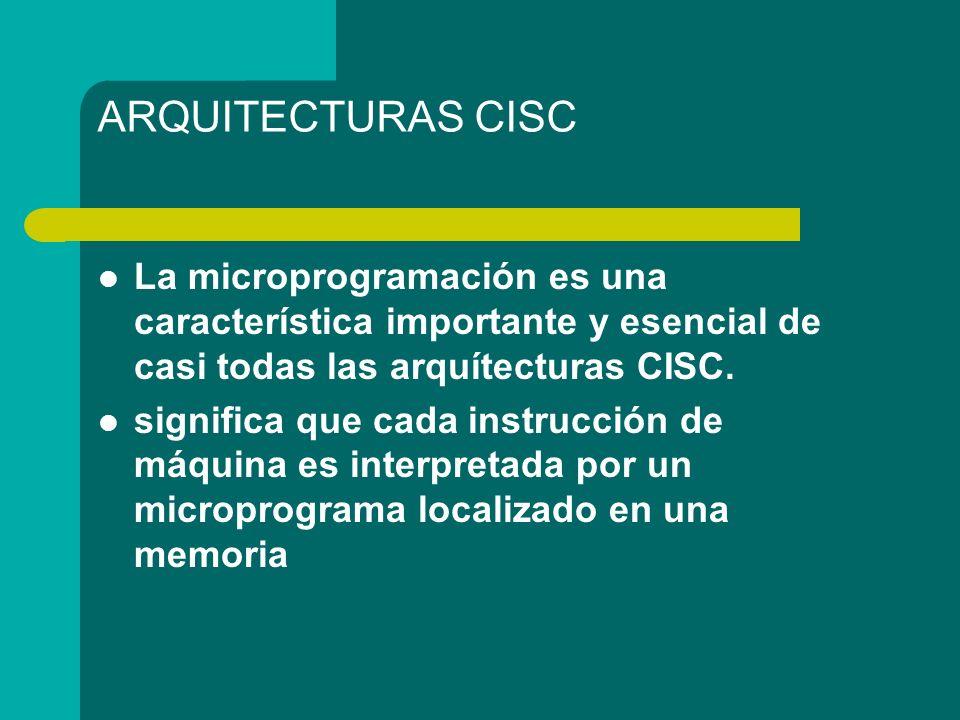 ARQUITECTURAS CISC La microprogramación es una característica importante y esencial de casi todas las arquítecturas CISC. significa que cada instrucci