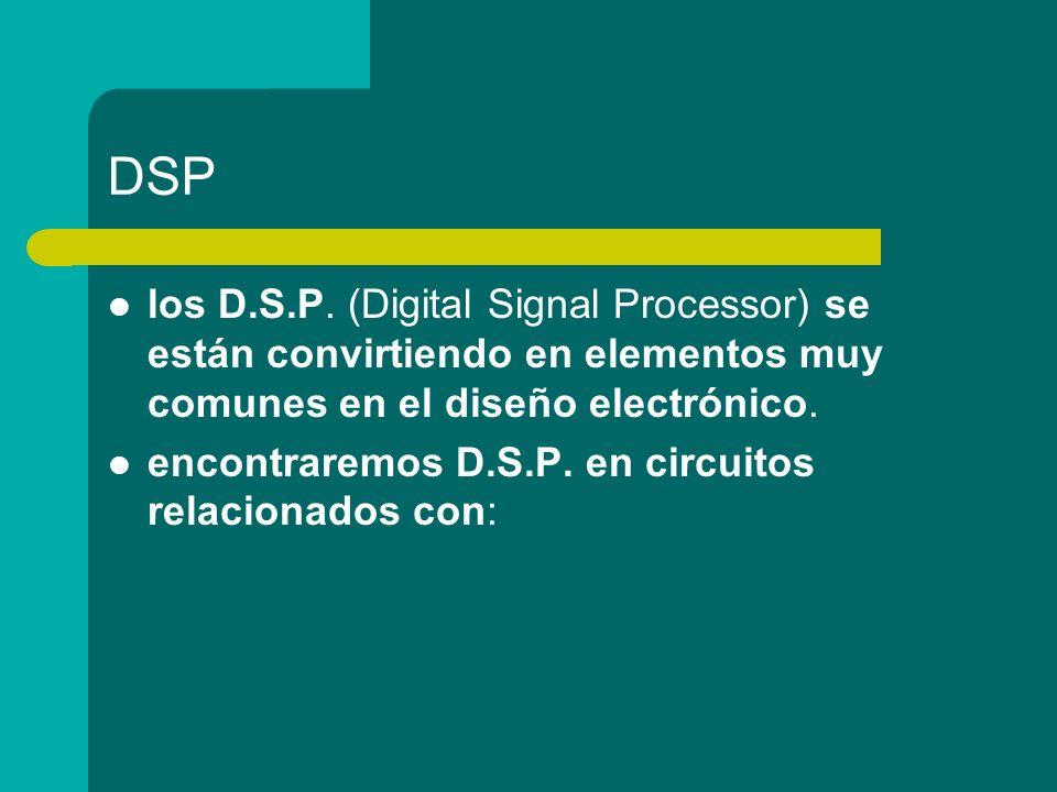 DSP los D.S.P. (Digital Signal Processor) se están convirtiendo en elementos muy comunes en el diseño electrónico. encontraremos D.S.P. en circuitos r