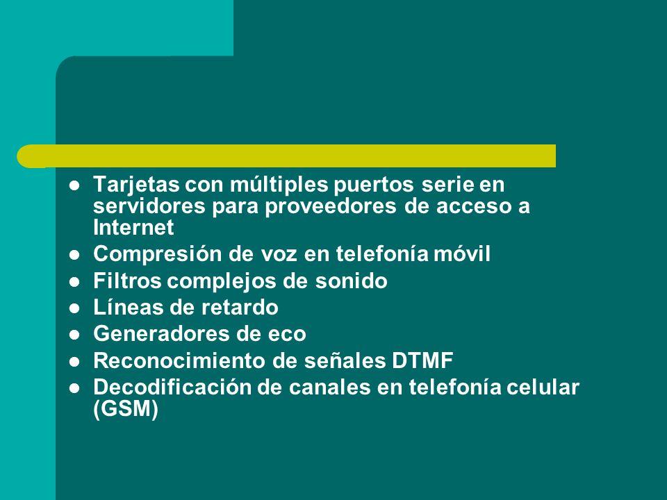 Tarjetas con múltiples puertos serie en servidores para proveedores de acceso a Internet Compresión de voz en telefonía móvil Filtros complejos de son