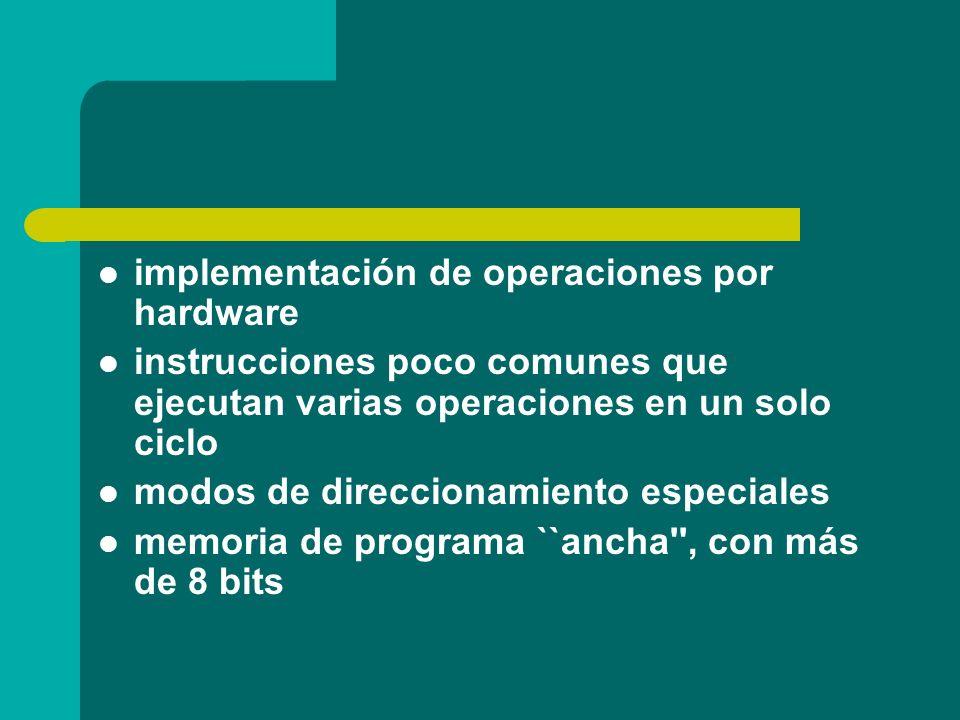 implementación de operaciones por hardware instrucciones poco comunes que ejecutan varias operaciones en un solo ciclo modos de direccionamiento espec