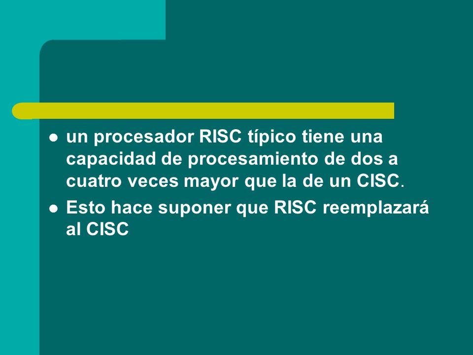 un procesador RISC típico tiene una capacidad de procesamiento de dos a cuatro veces mayor que la de un CISC. Esto hace suponer que RISC reemplazará a