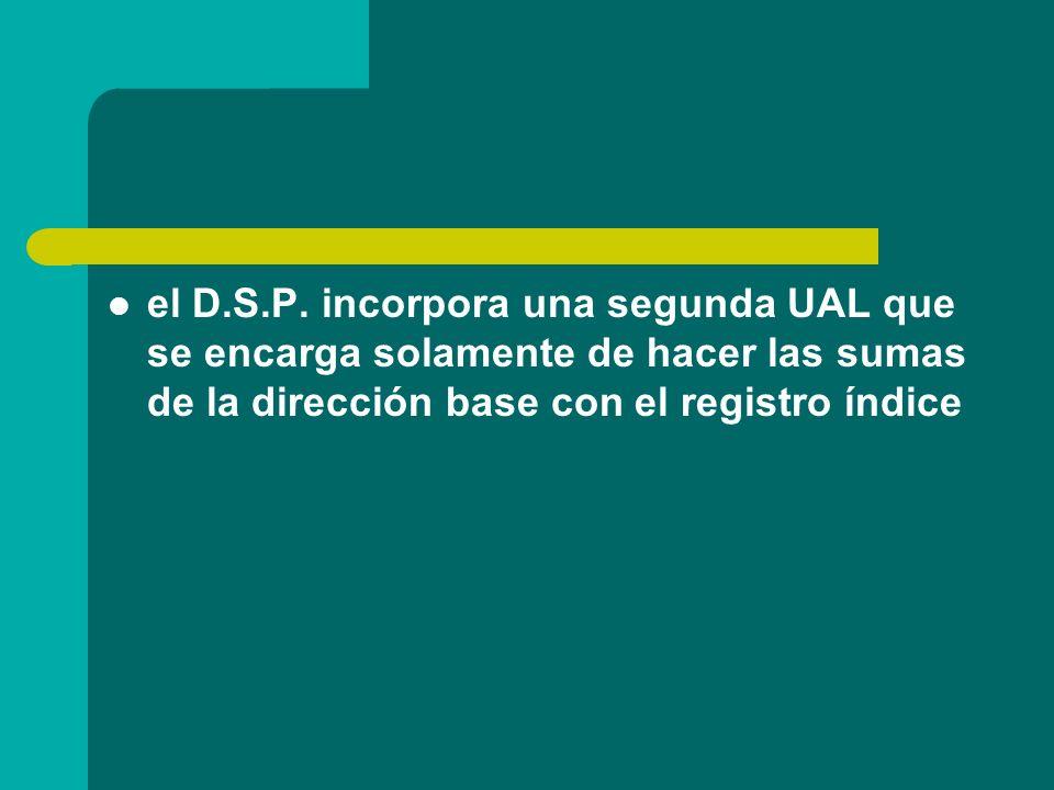 el D.S.P. incorpora una segunda UAL que se encarga solamente de hacer las sumas de la dirección base con el registro índice