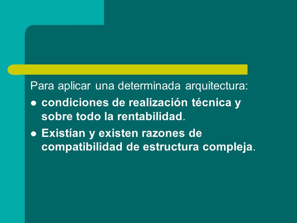Para aplicar una determinada arquitectura: condiciones de realización técnica y sobre todo la rentabilidad. Existían y existen razones de compatibilid
