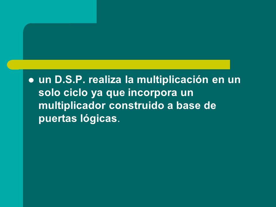 un D.S.P. realiza la multiplicación en un solo ciclo ya que incorpora un multiplicador construido a base de puertas lógicas.