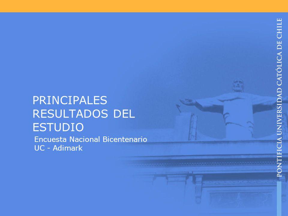 PRINCIPALES RESULTADOS DEL ESTUDIO Encuesta Nacional Bicentenario UC - Adimark