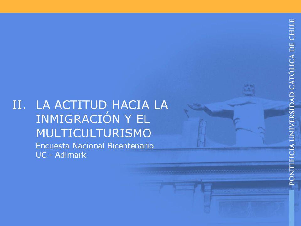 II.LA ACTITUD HACIA LA INMIGRACIÓN Y EL MULTICULTURISMO Encuesta Nacional Bicentenario UC - Adimark