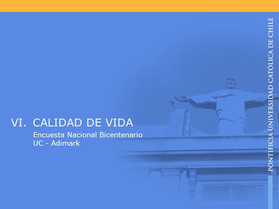 VI.CALIDAD DE VIDA Encuesta Nacional Bicentenario UC - Adimark