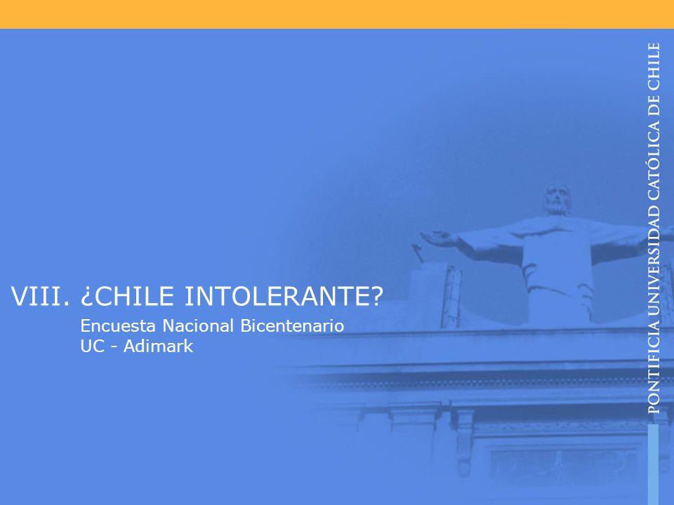 VIII. ¿CHILE INTOLERANTE? Encuesta Nacional Bicentenario UC - Adimark
