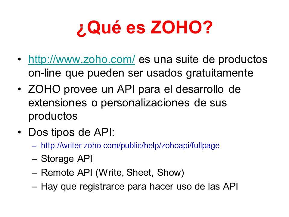 ¿Qué es ZOHO? http://www.zoho.com/ es una suite de productos on-line que pueden ser usados gratuitamentehttp://www.zoho.com/ ZOHO provee un API para e