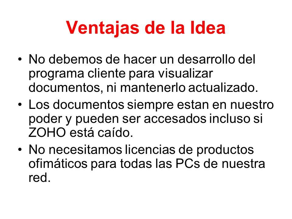 Ventajas de la Idea No debemos de hacer un desarrollo del programa cliente para visualizar documentos, ni mantenerlo actualizado. Los documentos siemp