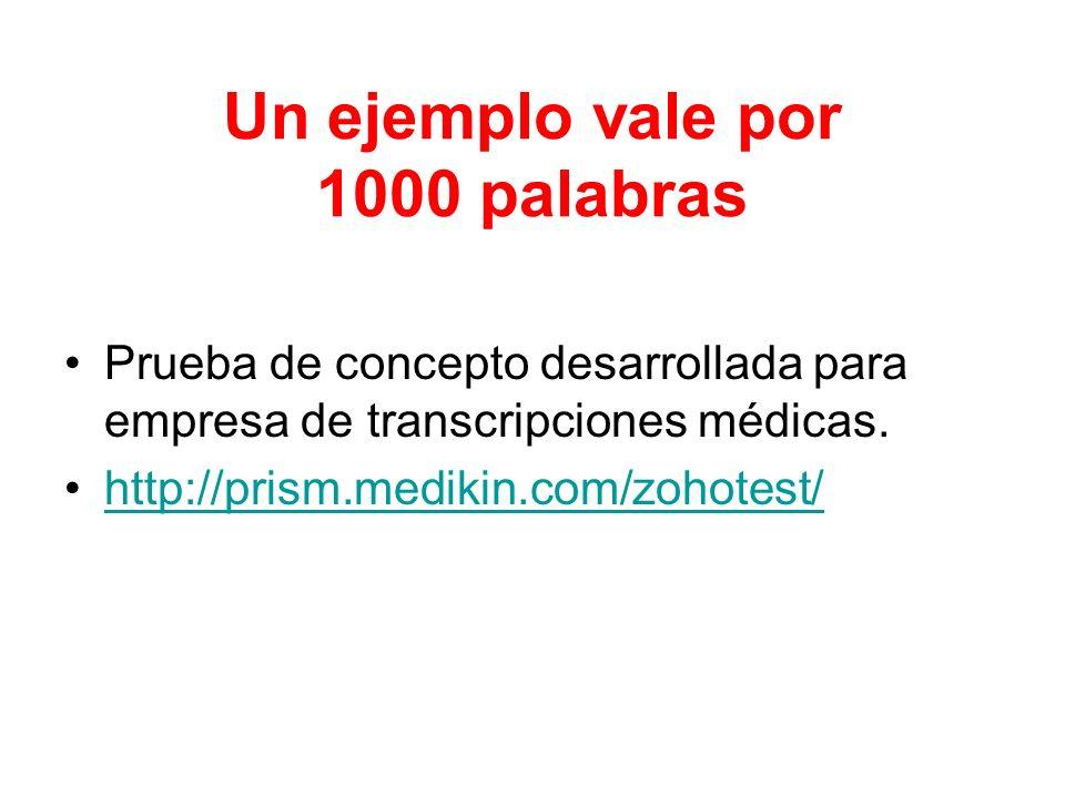 Un ejemplo vale por 1000 palabras Prueba de concepto desarrollada para empresa de transcripciones médicas. http://prism.medikin.com/zohotest/