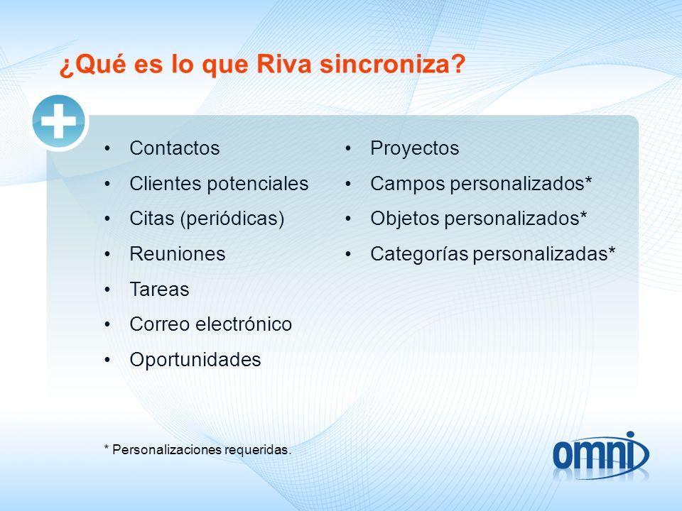 ¿Qué es lo que Riva sincroniza? Contactos Clientes potenciales Citas (periódicas) Reuniones Tareas Correo electrónico Oportunidades * Personalizacione