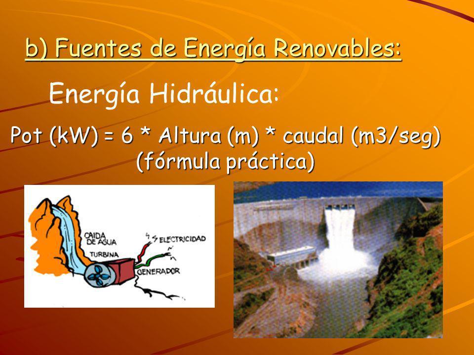 b) Fuentes de Energía Renovables: Energía Hidráulica: Pot (kW) = 6 * Altura (m) * caudal (m3/seg) (fórmula práctica)