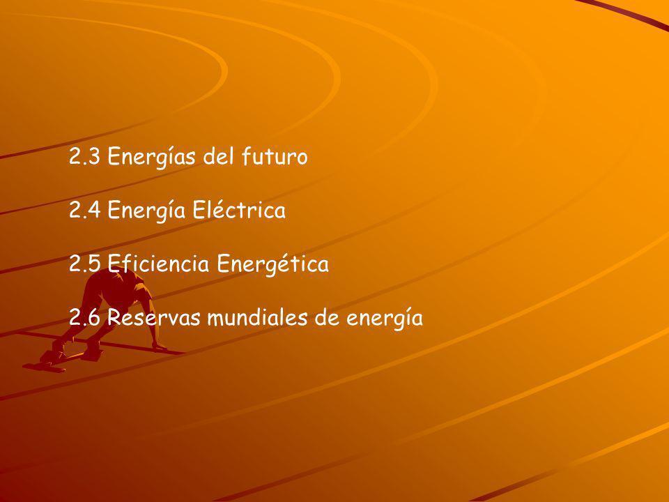 2.3 Energías del futuro 2.4 Energía Eléctrica 2.5 Eficiencia Energética 2.6 Reservas mundiales de energía