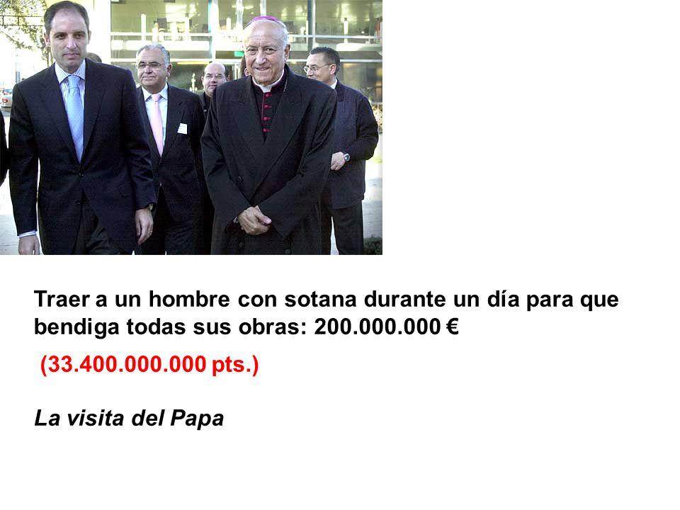 Traer a un hombre con sotana durante un día para que bendiga todas sus obras: 200.000.000 (33.400.000.000 pts.) La visita del Papa