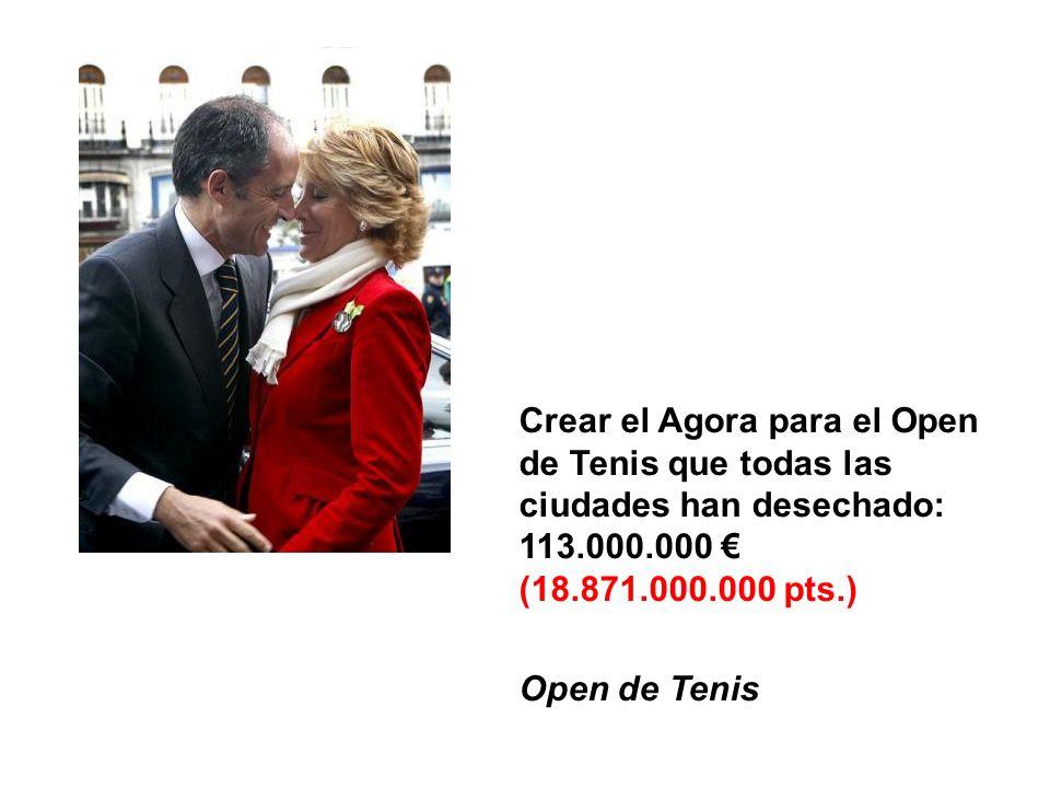 Crear el Agora para el Open de Tenis que todas las ciudades han desechado: 113.000.000 (18.871.000.000 pts.) Open de Tenis