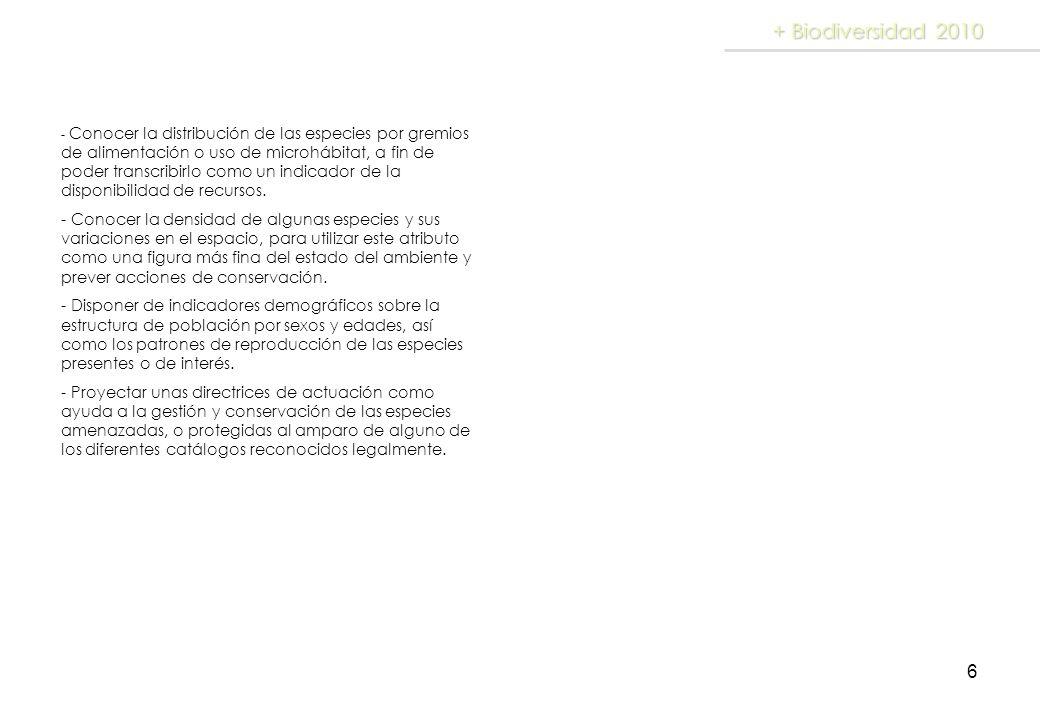 6 + Biodiversidad 2010 - Conocer la distribución de las especies por gremios de alimentación o uso de microhábitat, a fin de poder transcribirlo como