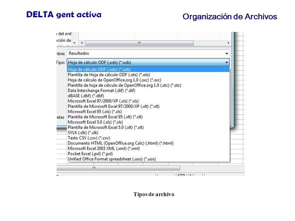 Organización de Archivos Tipos de archivo