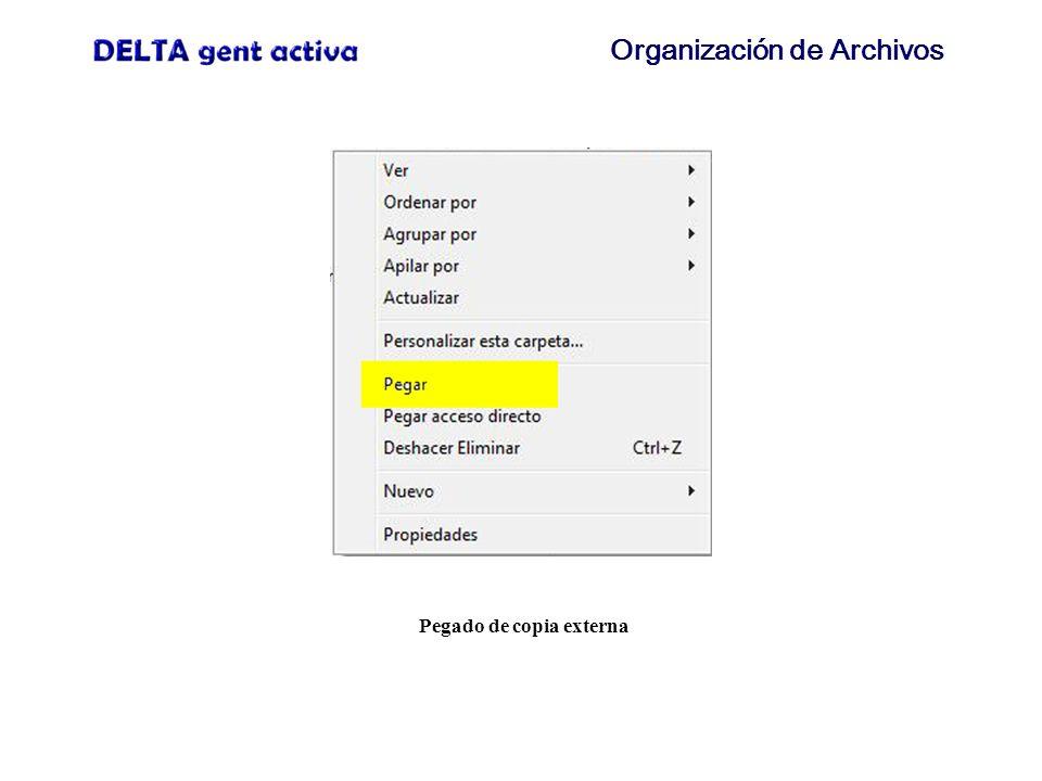 Organización de Archivos Pegado de copia externa