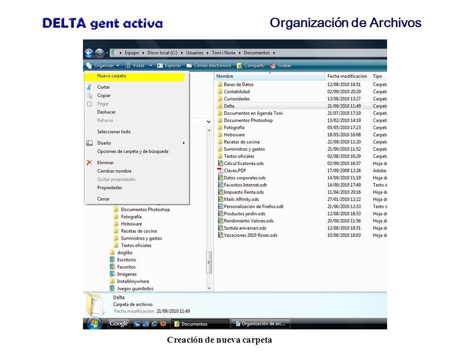 Organización de Archivos Nueva carpeta creada