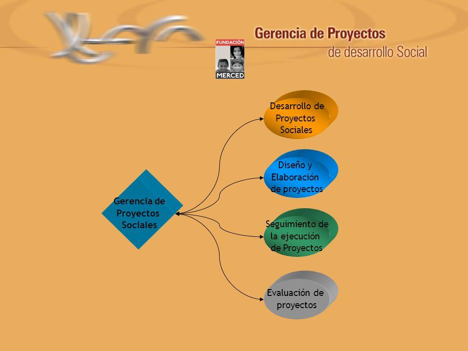 Gerencia de Proyectos Sociales Desarrollo de Proyectos Sociales Evaluación de proyectos Diseño y Elaboración de proyectos Seguimiento de la ejecución