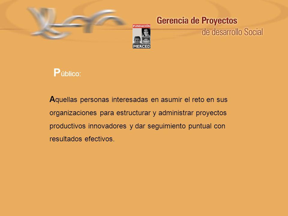 E l participante logrará : Potenciar la habilidad para visualizar oportunidades sobre la creación de proyectos (visión).