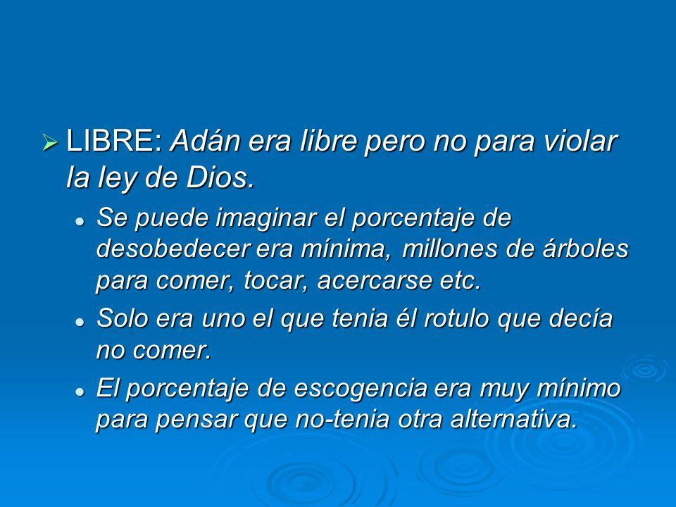 LIBRE: Adán era libre pero no para violar la ley de Dios. LIBRE: Adán era libre pero no para violar la ley de Dios. Se puede imaginar el porcentaje de