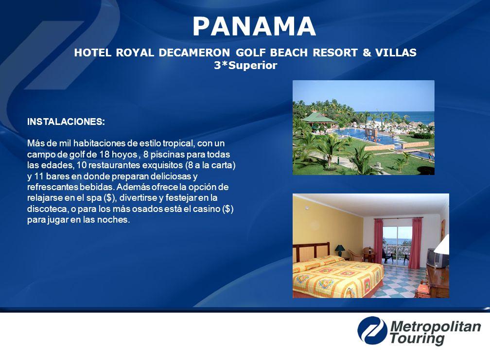 INSTALACIONES: Más de mil habitaciones de estilo tropical, con un campo de golf de 18 hoyos, 8 piscinas para todas las edades, 10 restaurantes exquisi