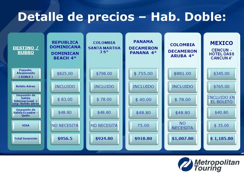 Detalle de precios – Hab. Doble: DESTINO / RUBRO Paquete, Alojamiento ( DOBLE ) Boleto Aéreo Impuesto de Salida Internacional + Imp. Boleto aéreo Impu
