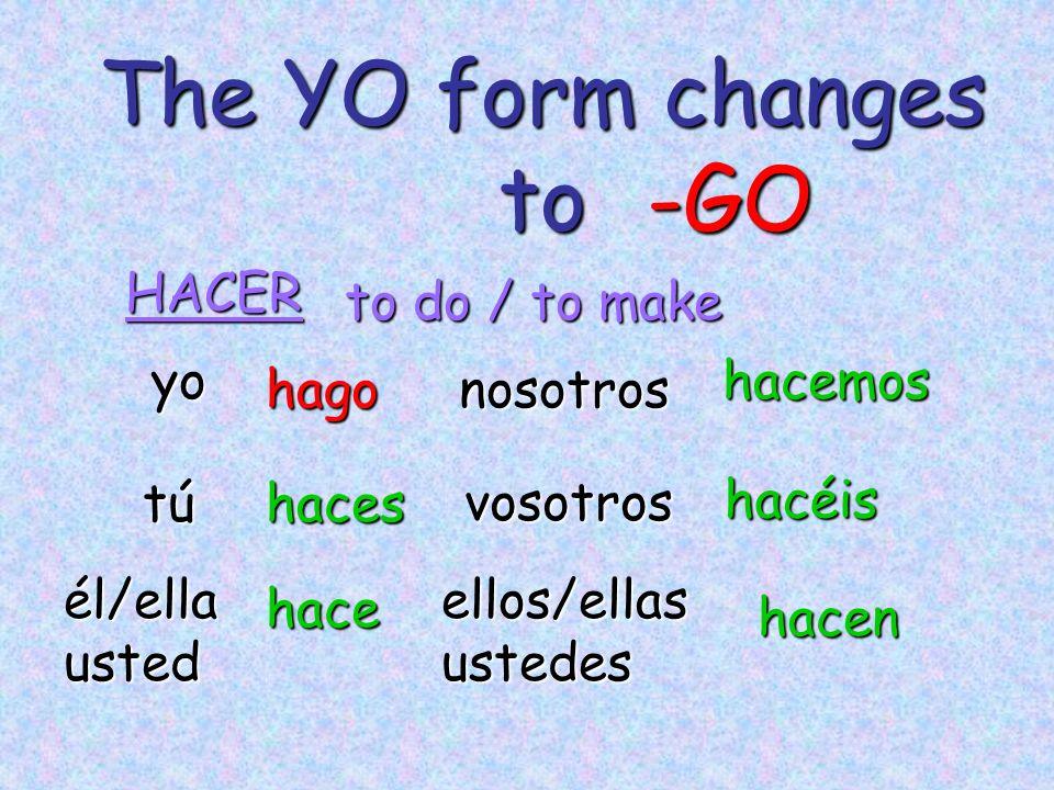 The YO form changes to yo tú él/ellaustedellos/ellasustedes nosotroshago haces hace hacemos hacen HACER -GO to do / to make vosotros hacéis