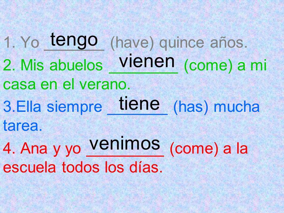 DECIR yo tú él/ellausted ellos/ellasustedes nosotrosdigo dices dice decimos dicen has a different spelling change in 4 forms to say / to tell vosotrosdecís