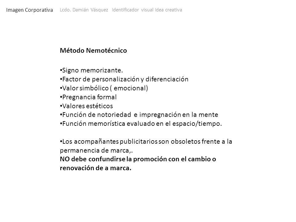 Imagen Corporativa Lcdo. Damián Vásquez Identificador visual Idea creativa Método Nemotécnico Signo memorizante. Factor de personalización y diferenci