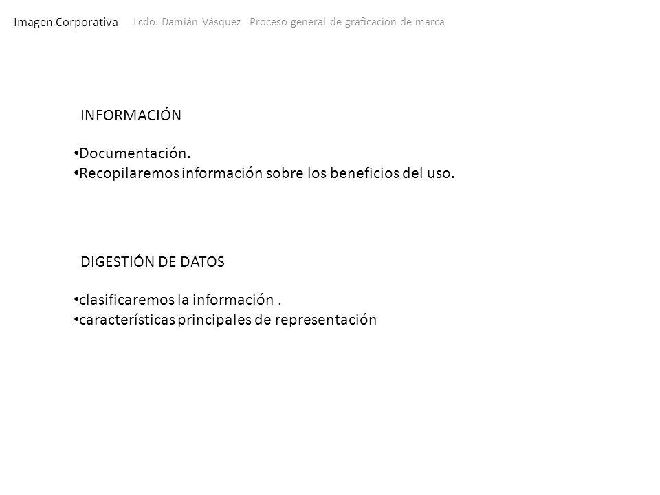 Imagen Corporativa Lcdo. Damián Vásquez Proceso general de graficación de marca INFORMACIÓN Documentación. Recopilaremos información sobre los benefic