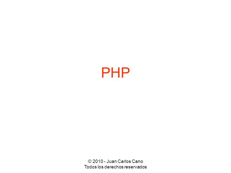 © 2010 - Juan Carlos Cano Todos los derechos reservados Sintaxis: identificación de código PHP <?php instrucciones en lenguaje PHP ?> Si está activada la opción short_open_tag en la configuración de PHP: <.