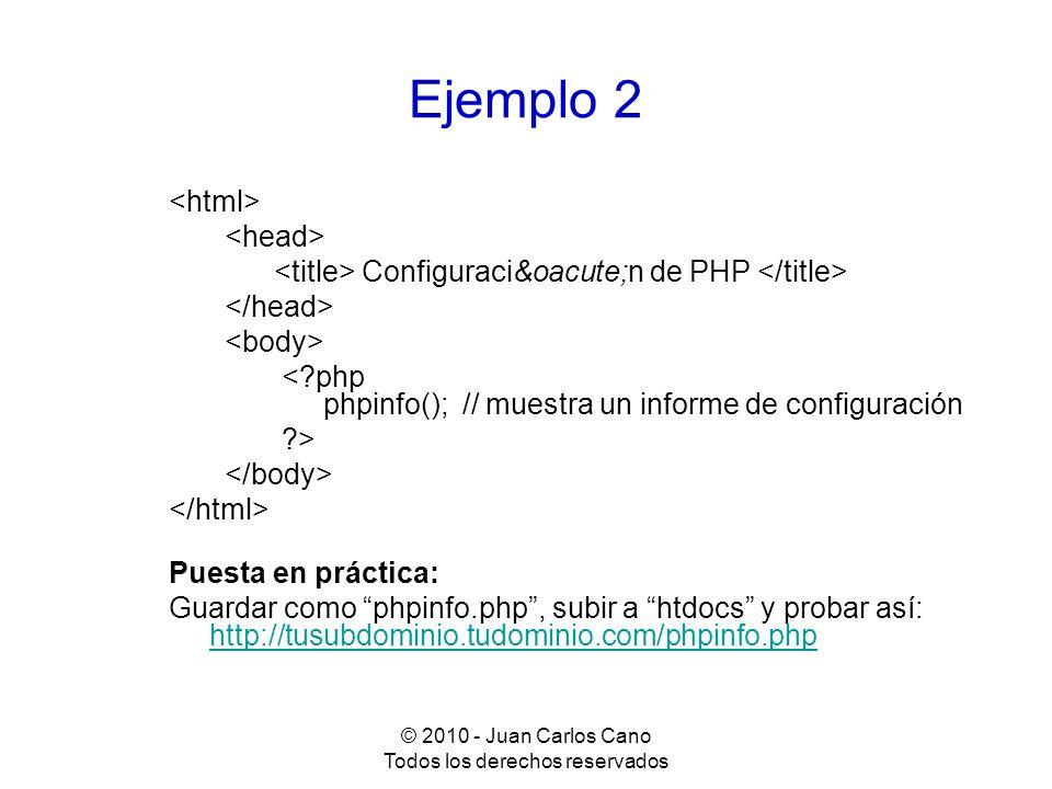 © 2010 - Juan Carlos Cano Todos los derechos reservados Sintaxis: constantes y variables Declaración de constantes: define(NOMBRE_CONSTANTE, valor) ; Declaración de variables: $nombre_variable = valor ; Básicamente son de cuatro tipos: integer, float, string y boolean (true / false)
